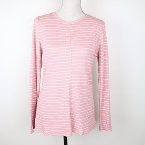 Lou & Grey Pink Striped Long Sleeve w/ Keyhole M